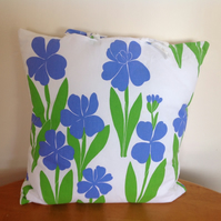 Blue Flowers Cotton Reversible Cushion