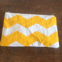 Yellow Cotton Ripple Make Up Bag