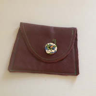 Soft Leather Handmade Plum Purse
