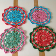 Set of Four Crochet Table Coasters