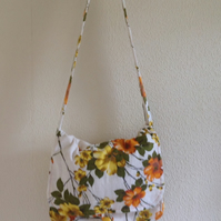 Yellow and Orange  Flowers Retro Shoulder Bag