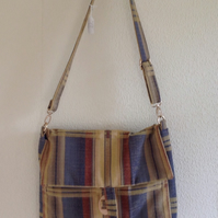 Striped Fabric Bag with Adjustable Shoulder Strap and  Matching Purse