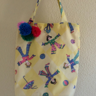 Girls Bag Featuring Clowns with Matching Purse and Pom Poms