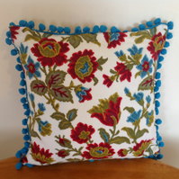 Retro Floral Cushion with Blue Trim