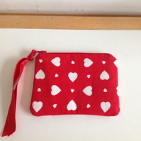 Red Coin Purse with White Hearts