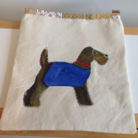 Fabric Painted Wolfhound Shoulder Bag