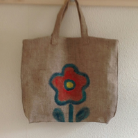 Flower Hesian Shopper