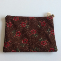 Brown with Red Flowers Make Up Bag