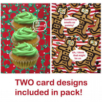 Christmas Card pack ( x6) - Gingerbread Robots & Cupcakes