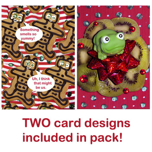 Christmas Cards (pack of 6) - Gingerbread + Froggy