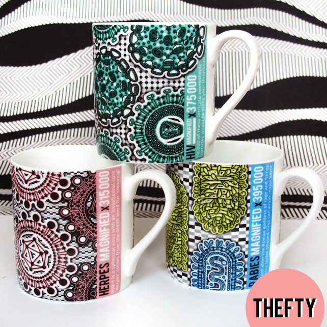 Retroviral Fine Bone China Mug Trio: HERPES, RABIES, HIV