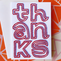 Thanks Card in Red & Blue Typography