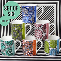Set of SIX Retroviral Mugs (Fine Bone China)