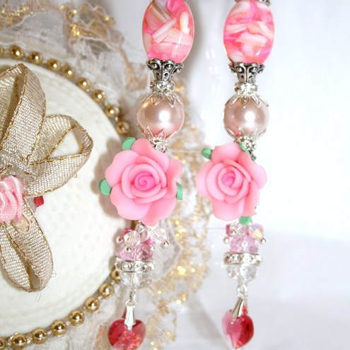 ONE OF A KIND - SWAROVSKY CRYSTALS PEARLS MATHER OF PEARLS AND RHINESTONES PINK