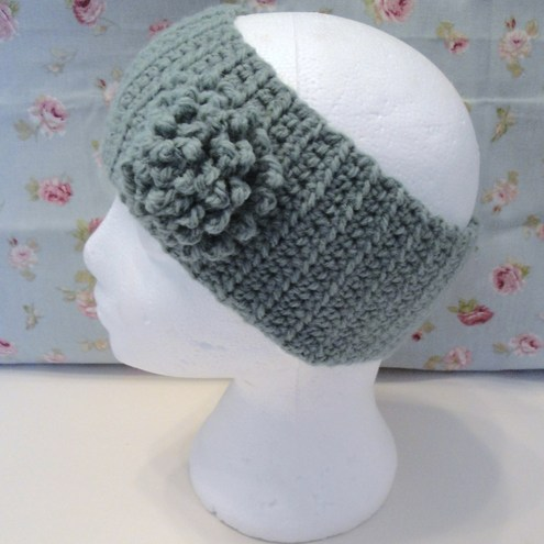 Sage Green Ladies Crochet Ear Warmer Head Band with Flower