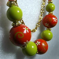 Hand Painted Wooden Bead Orange Green Necklace