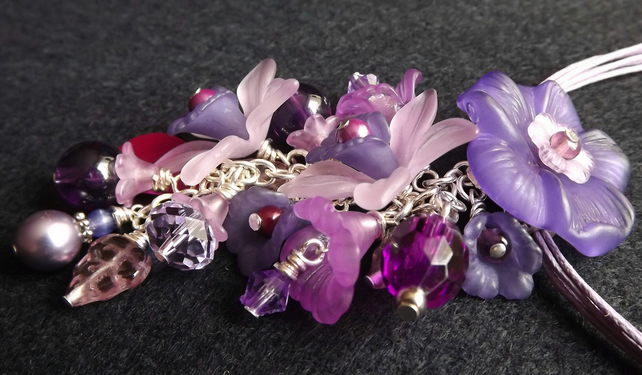 Lucite Flower Necklace (Purple Haze)