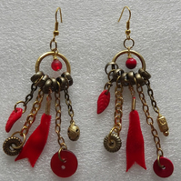 Junk Collectors Earrings-Red