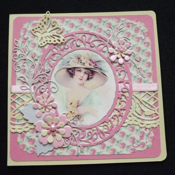 Vintage Lady Blank Greeting Card