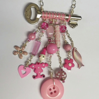 Upcycled Key Necklace (Pink On Parade)