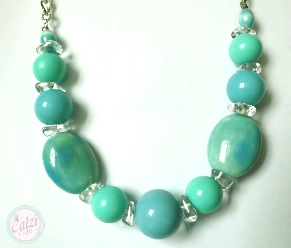 Chunky Ceramic Bead Necklace (Ocean Breeze)
