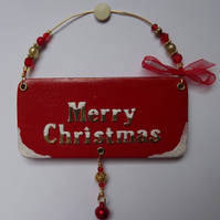 """Merry Christmas"" tree decoration, Christmas plaque,"