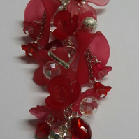 Lucite flower necklace-Red