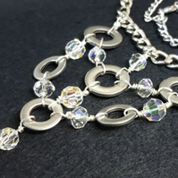 Crystal Bead & Washer Necklace