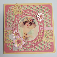 Vintage Lady Blank Birthday Mothers Day Card