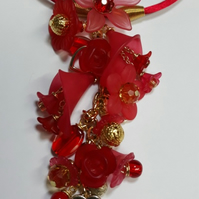 Lucite flower necklace-red-(2)