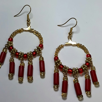 Red and gold gypsy,boho dangle earrings.