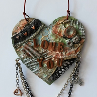 Grungy Mixed Media Love You MDF Hanging Heart