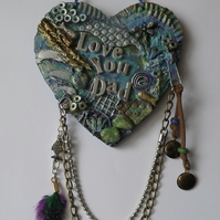 Mixed Media Father's Day, Birthday, Fishing, MDF Hanging Heart