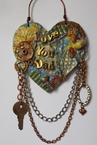 Mixed Media Father's Day, Birthday, Hanging Heart Plaque