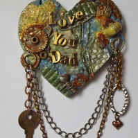 Mixed Media Father's Day, Birthday, MDF Hanging Heart Plaque