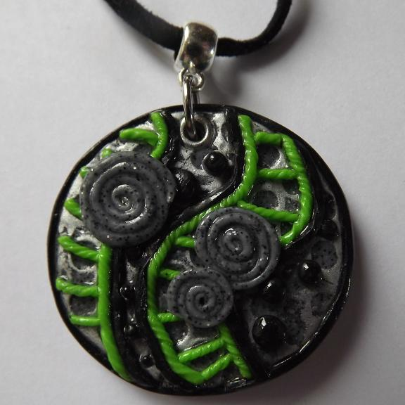 Abstract Design Polymer Clay Pendant
