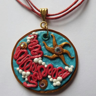 Sea Design Polymer Clay Pendant