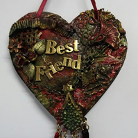 Mixed Media Best Friend MDF Hanging Heart