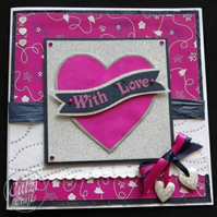 With Love, Valentine, Blank, Anniversary Card