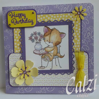 Cute Kitten Cat Birthday Card
