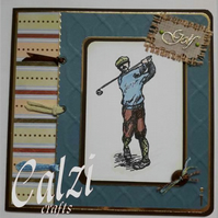 Golf Themed Blank Greeting Card