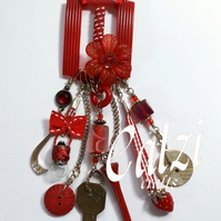 Upcycled Vintage Buckle Necklace (red)