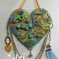Mixed Media Decorated MDF Love You Hanging Heart