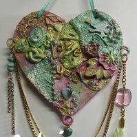 Mixed Media Decorated MDF Love You Hanging Heart.