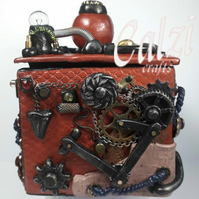 Polymer Clay Steampunk Industrial Trinket Box (Copper)