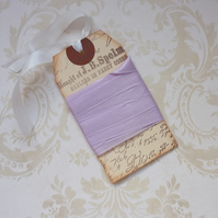 VINTAGE style  ribbon  ( silky seam binding). 4yds.  ' Pale  Lilac' .