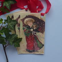 CHRISTMAS GIFT TAGS  ( set of 3. ) Vintage-style . ' Caught in the snow' '