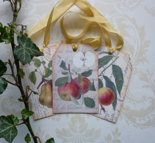 GIFT TAGS  ( set of 3 ) .Vintage -style  'Botanical Fruit '..ready to ship...