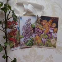 GIFT TAGS, vintage style . ' Flower Fairies - Spring mix   '. Set of 3.