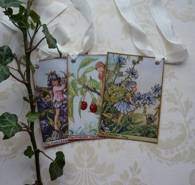 GIFT TAGS ,  vintage style ,  ( set of 3 )  Flower Fairies - 'Summer mix 1 '